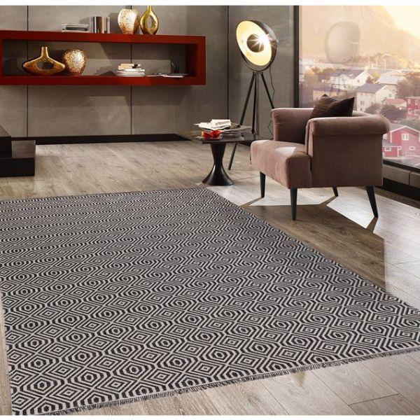Picture of Koza Carpet Black Gray Cube 21401A Fuzzy