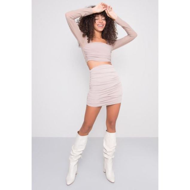 Picture of Shirred Detailed Tight Mini Skirt