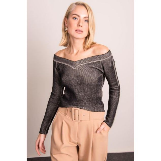Picture of V-Neck Sweater with Decollete Shoulder