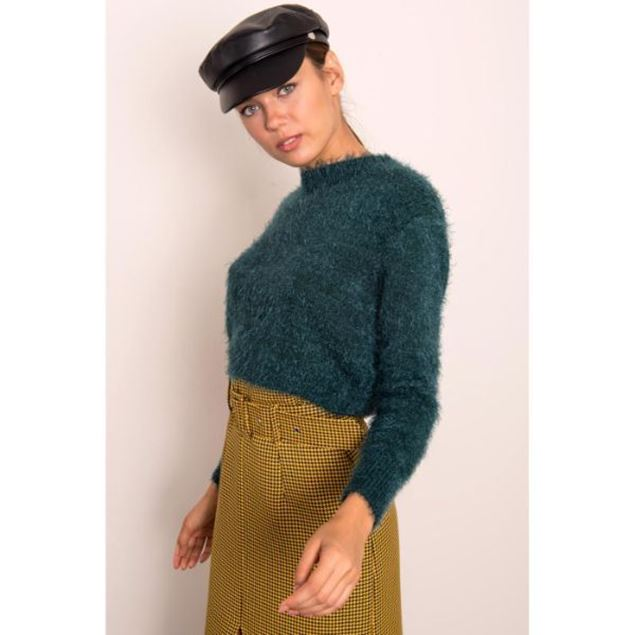 Picture of Crew Neck Fringed Short Sweater