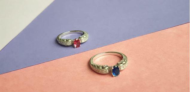 Picture of Monturly Colored Solitaire  Silver  Ring