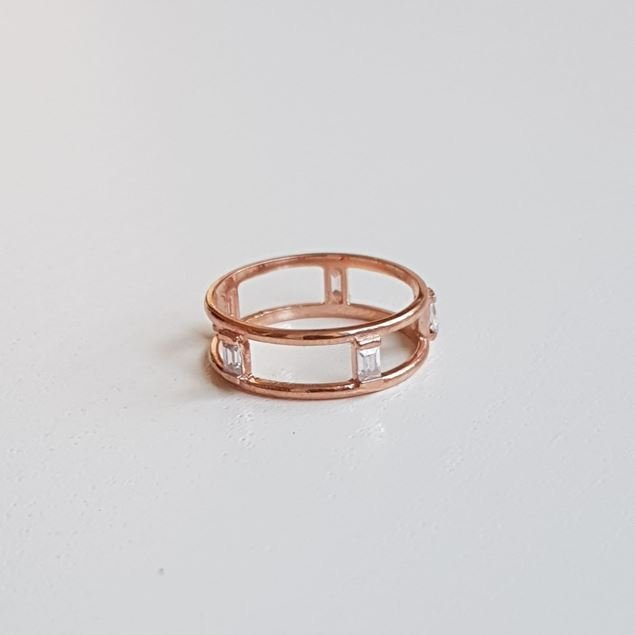 Picture of Minimal Baguette Row  Silver Ring