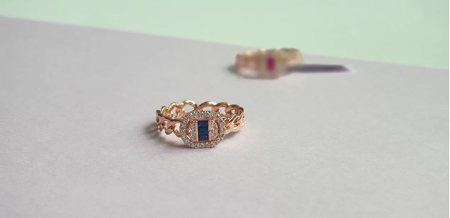 Picture of Oval Baguette Stone Silver Ring