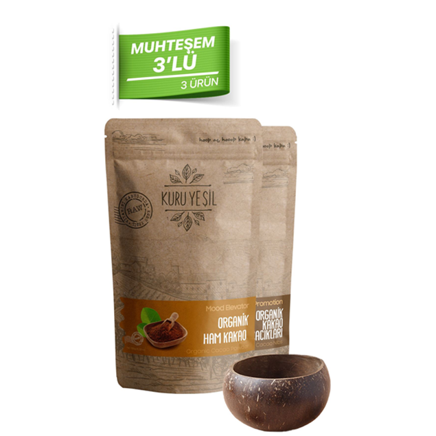 Picture of Gorgeous 3 Pieces (Raw Cocoa Powder-Raw Cocoa Pieces-Coconut Bowl)