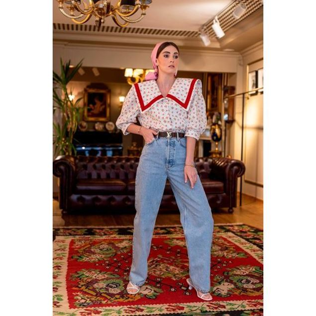 Picture of Red Collar Short Blouse - Nillush Vintage