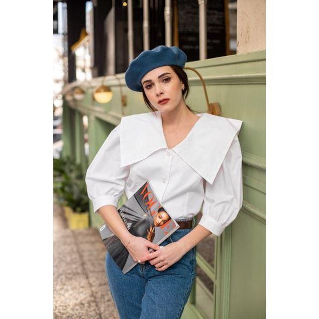 Picture of Short Collar White Blouse - Nillush Vintage
