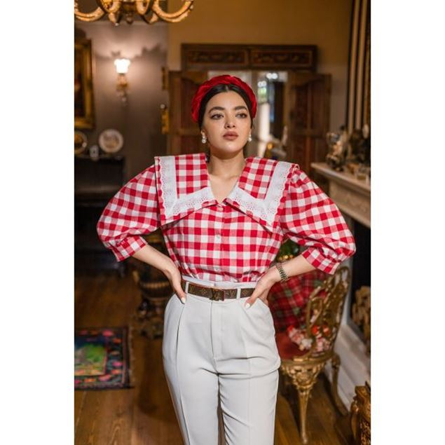 Picture of Red Squares Printed Blouse - Nillush Vintage