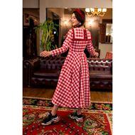 صورة فستان أحمر بطبعة مربعات - نيلوش فينتيج